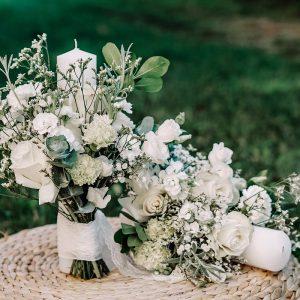lumanari de cununie cu flori albe